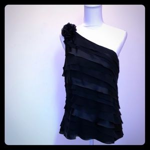 White House Black Market Tiered One Shoulder Top
